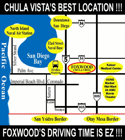 Chula Vista Driving Distance Area Map